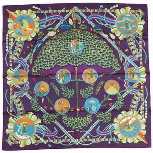 Hermes Calle 90 Magic Wand Umbrella L'OMBRELLE MAGIQUE Silk Scarf Purple 0332 HERMES