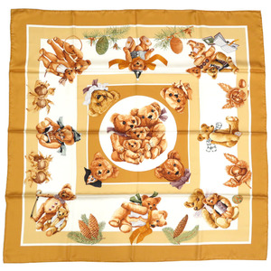 Hermes Calle 90 Heart Friend Teddy Bear CONFIDENTS DESCOEURS Silk Scarf 0333 HERMES