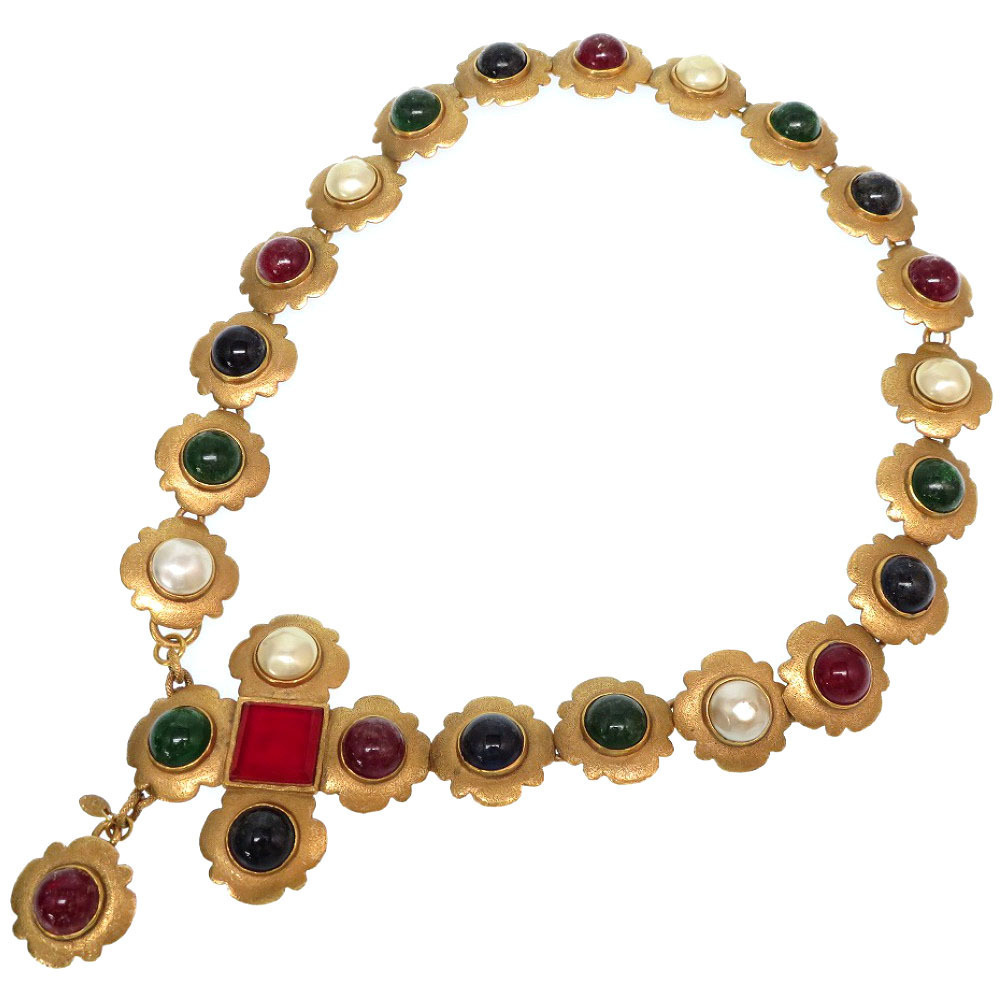 Chanel Vintage Multicolor Stone Faux Pearl Gold Chain Belt Accessories 0423 CHANEL Necklace