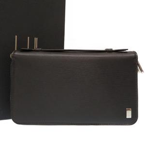 Dunhill Travel Case Clutch Bag Leather Dark Brown 0342 Men's