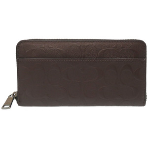 Coach Signature Leather Round Zip Long Wallet Brown 0052 COACH