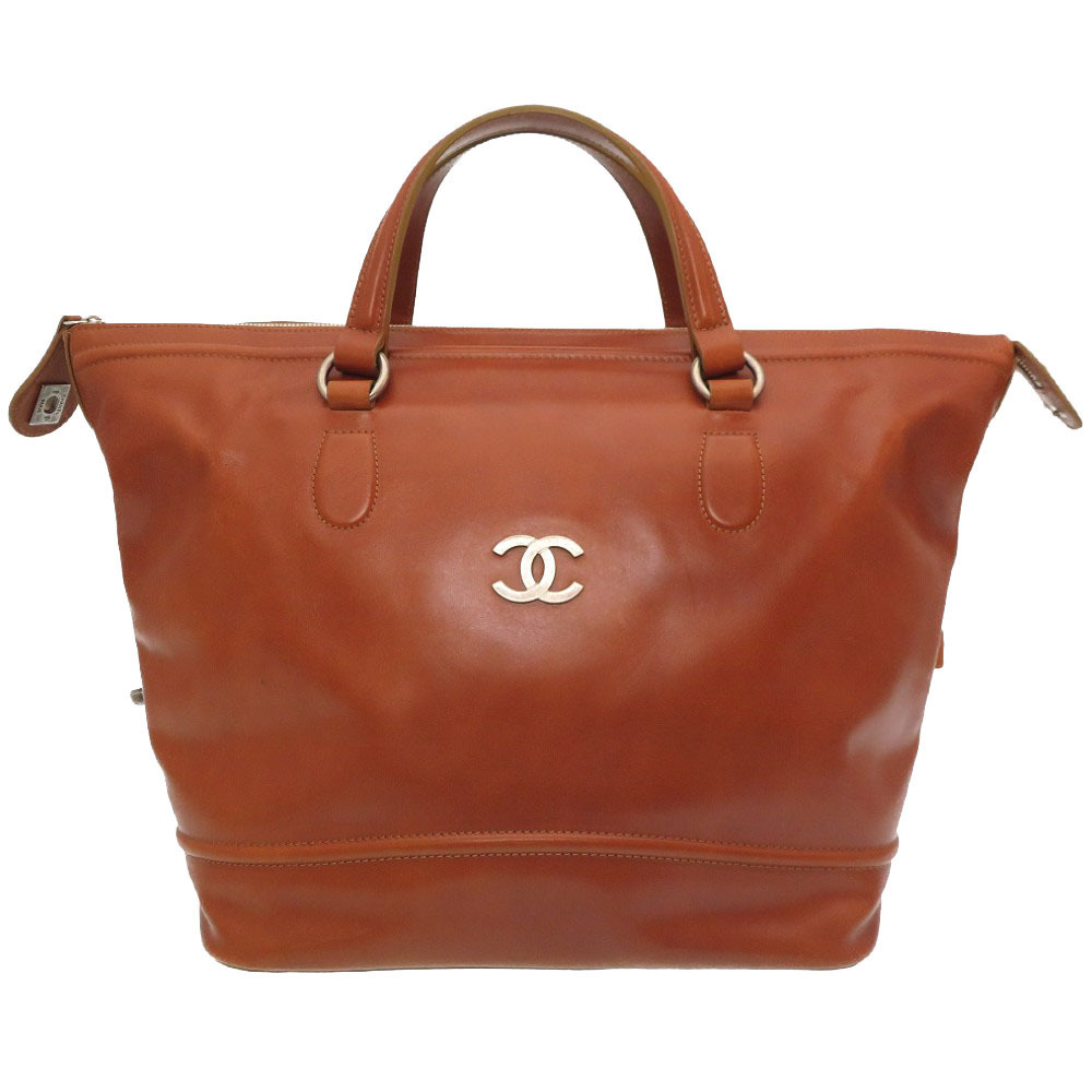 Chanel leather brown coco mark turn lock handbag boston bag tea 0074 CHANEL