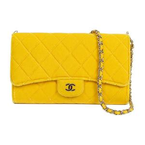 Chanel CHANEL velor chain wallet yellow with a pouch