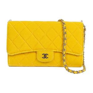 シャネル(Chanel) シャネル CHANEL  ベロアチェーンウォレット  イエロー ポーチ付き レディース