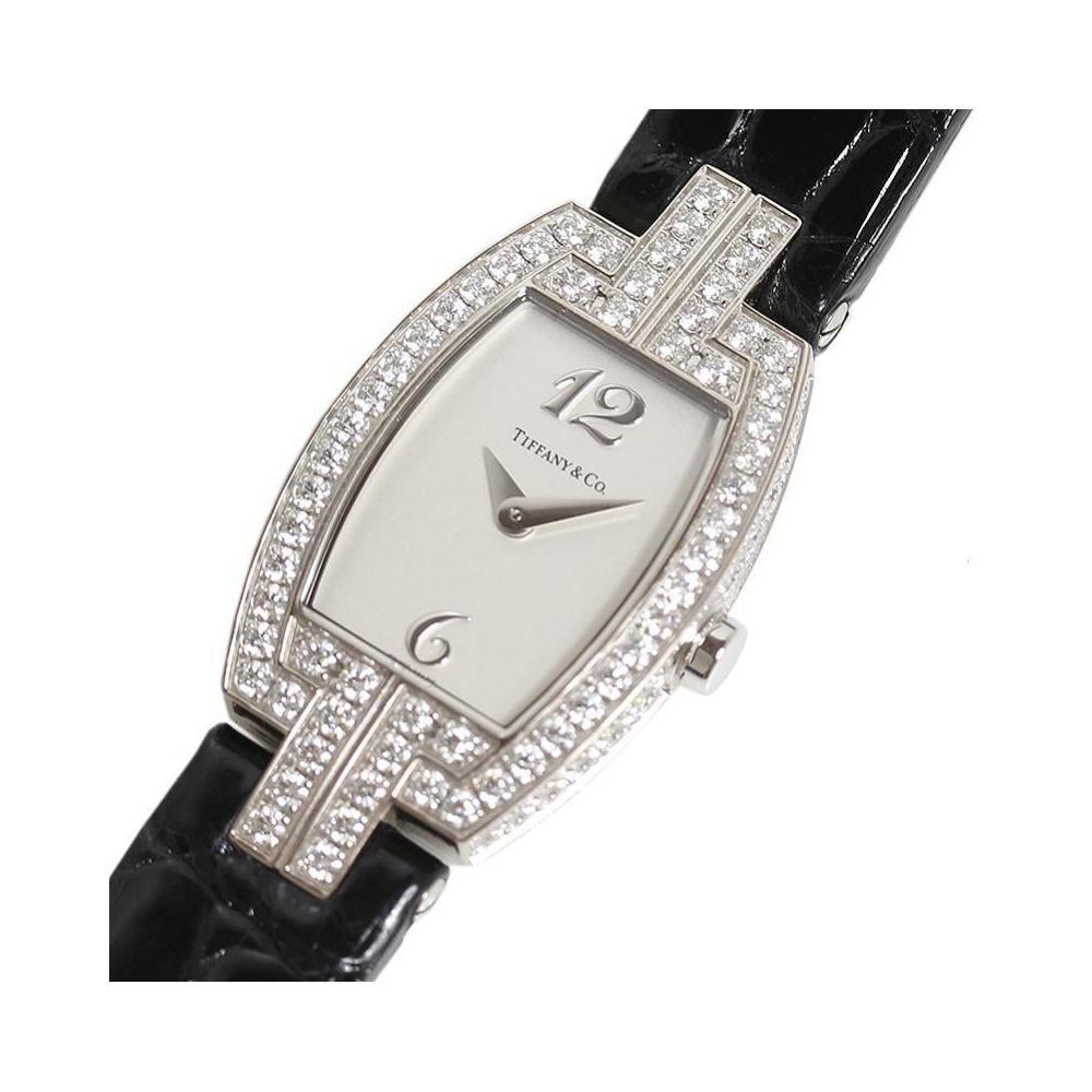 fc2beb4b16c0e Tiffany & Co. TIFFANY CO Toneau Cocktail Watch Z0093.10.40X21A40B WG Solid  Diamond Bezel Quartz Ladies | eLady.com