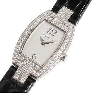 Tiffany & Co. TIFFANY CO Toneau Cocktail Watch Z0093.10.40X21A40B WG Solid Diamond Bezel Quartz Ladies