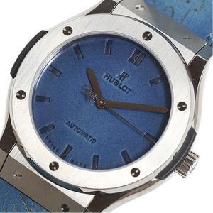 Hublot HUBLOT Classic Fusion Berlutti Scritt Ocean Blue Limited Edition 500 pcs 511.NX.050B.VR.BER16 Titanium Automatic Rolled Mens Watch
