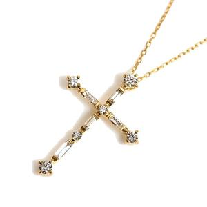 Cross Necklace K18YG Diamond D0.36 Ladies Pendant Jewelry Accessories Finished