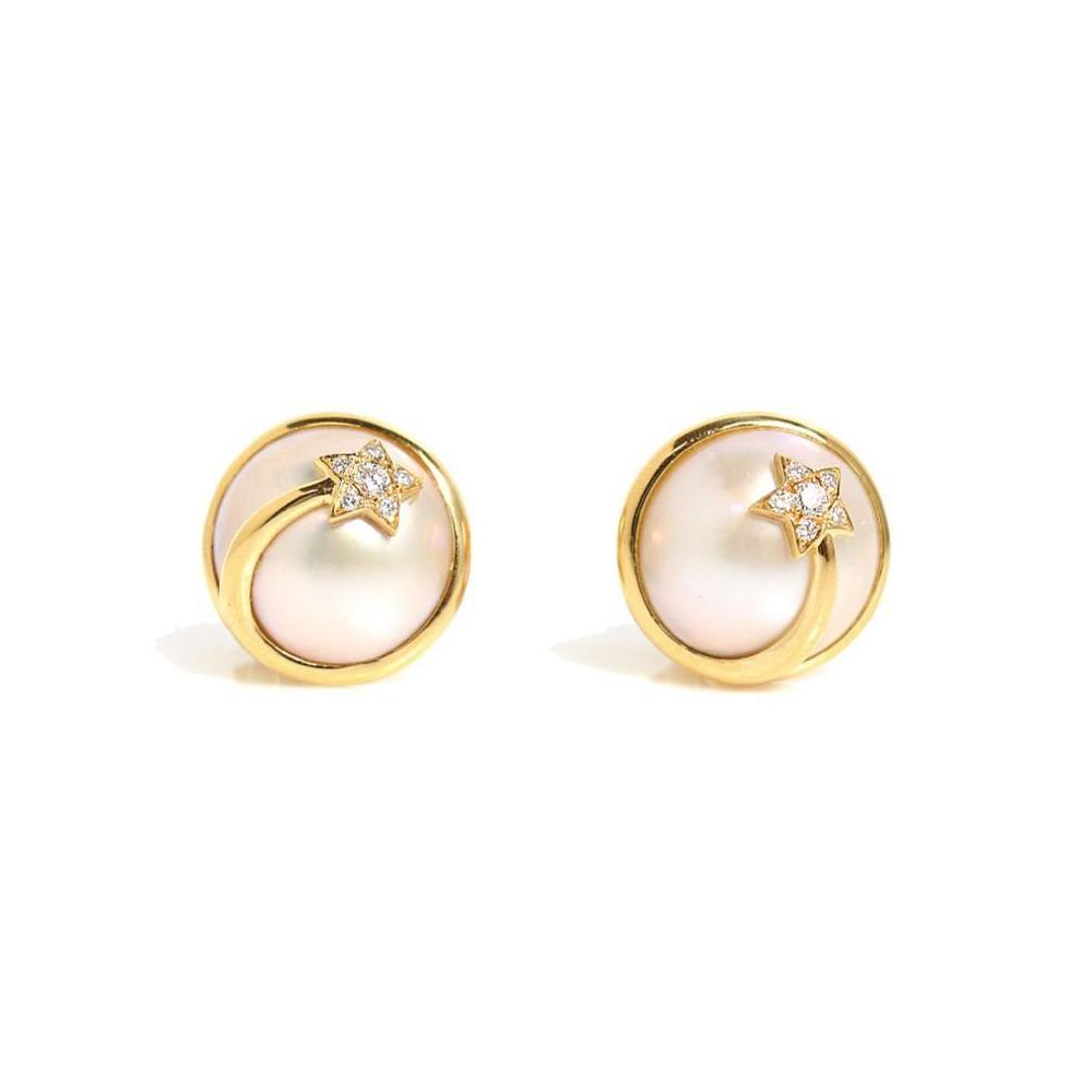 Chanel CHANEL Comet Earrings K18YG Pearl Diamond Ladies Jewelry Finished