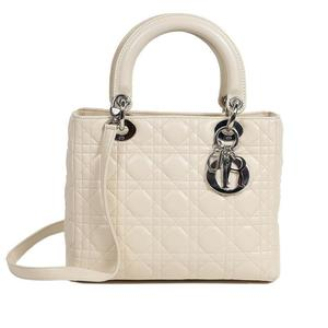 Christian Dior Lady Canage Off White Silver Hardware Handbags Women