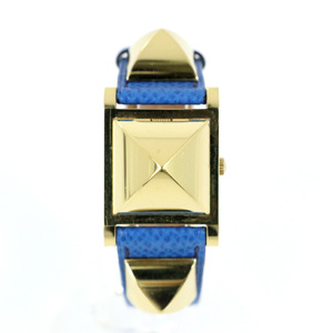 HERMES Medor Studded Blue Gold 695998 Quartz Two-needle Ladies Watch
