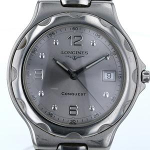 美品 ロンジン LONGINES コンクエスト デイト L1 631 4 クオーツ シルバー 文字盤 メンズ 腕時計 【kk】【中古】