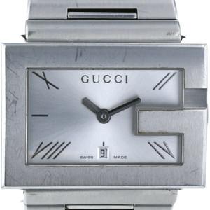グッチ GUCCI スクエア ビッグG 100M クォーツ シルバー 文字盤 メンズ 腕時計 【kk】【中古】