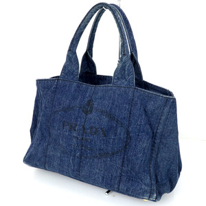 Prada Kanapa Denim Blue Cotton Tote Bag Women