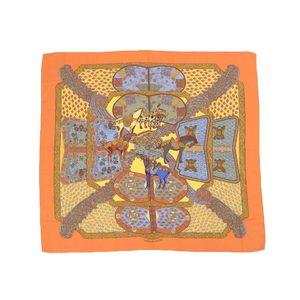 エルメス (Hermes) HERMES エルメス カレ140 超大判ストール ART des STEPPES ステップ美術 ショール カシミヤ シルク オレンジ カシミア   20190621