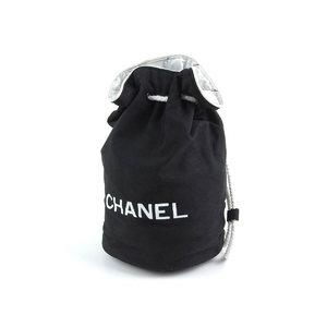 シャネル(Chanel) CHANEL シャネル ロゴ 巾着型 リュック キャンバス ブラック 黒 ホワイト 白 ナップサック   20190614