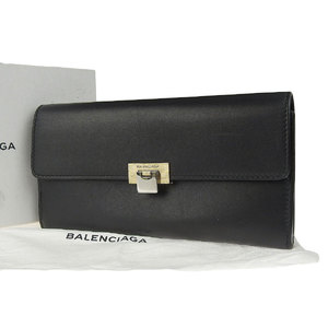 BALENCIA GA Balenciaga Leather Long Wallet Gold Hardware Black Continental 20190112