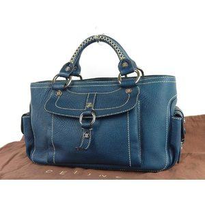 CELINE Celine boogie bag macadam bracket magnet lock handbag leather blue 20190614