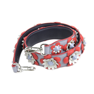 FENDI Fendi strap you flower motif studs shoulder leather red gray 20190621