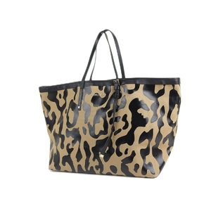 JIMMY CHOO Jimmy Choo Sasha Tote Bag Canvas Leather Beige Black Shoulder 20190621