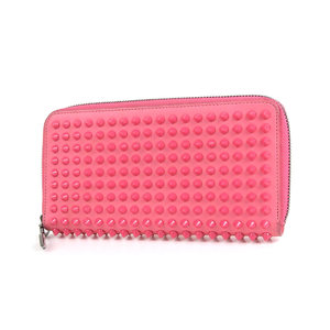 Christian Louboutin Panettone round fastener wallet Spike studs pink 20190621