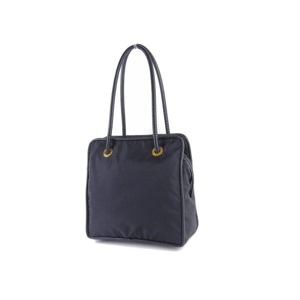 CELINE Celine Vintage Circle Bracket Shoulder Bag Nylon Leather Black Tote 20190621
