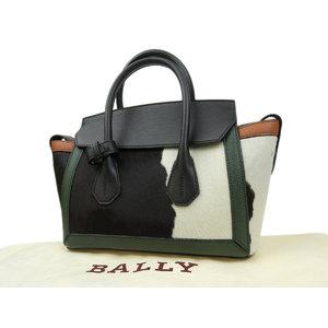 バリー(Bally) BALLY バリー ソメ SOMMET 牛柄 ハンドバッグ ハラコ レザー グリーン 緑 ホワイト 白 ブラック 黒   20190614