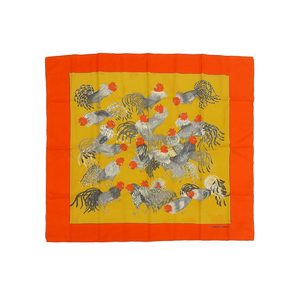 HERMES Hermes Calle 91 Jeune Coqs Chicken Large format scarf Silk Orange Yellow 20190621