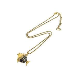 クリスチャン・ディオール(Christian Dior) Christian Dior クリスチャンディオール フィッシュモチーフ ラインストーン ネックレス ゴールド ペンダント 44.5cm   20190628