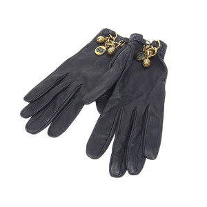 HERMES Women's glove leather navy with a charm-charm-S 20190628