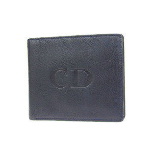 Christian Dior Logo Stamped Vintage Two-folded Wallet Leather Navy Compact 20190628