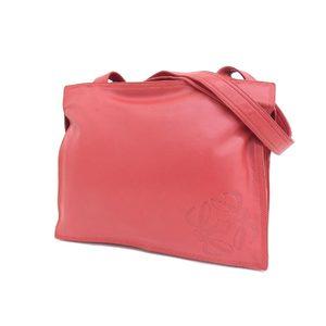 LOEWE Loewe Anagram Stamped Vintage Shoulder Bag Leather Red 20190628
