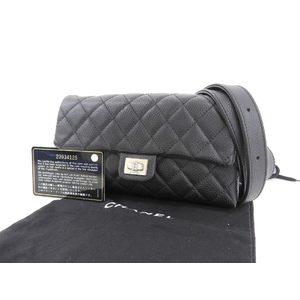 シャネル(Chanel) CHANEL シャネル 2.55金具 マトラッセ ココマーク ウエストポーチ キャビアスキン ブラック 黒 ボディバッグ 23番台   20190628