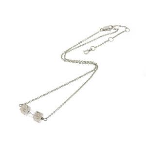 クリスチャン・ディオール(Christian Dior) Christian Dior クリスチャンディオール ロゴ キューブ クリアストーン ネックレス シルバー ペンダント 42.5cm   20190628