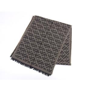 FENDI Fendi Zucca Pattern Logo Overall Stole Beige Black Shawl 20190628