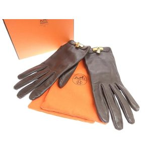 HERMES Hermes Cadena Motif Women's Leather Gloves Dark Brown 7 1 2 20190628