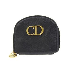 クリスチャン・ディオール(Christian Dior) Christian Dior クリスチャンディオール CDロゴ金具 ヴィンテージ コインケース レザー ブラック 黒 コンパクト   20190628