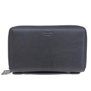 COACH Double Zip Travel Organizer Long Wallet Second Bag Clutch Leather Black Men's F93509