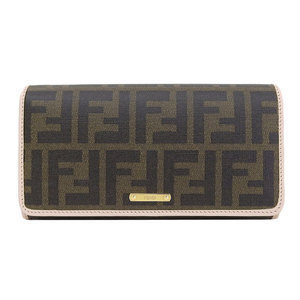 FENDI Zucca FF Logo PVC Flap Folded Long Wallet Brown Pink Ladies