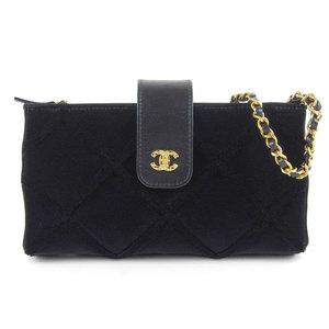 Chanel CHANEL Velor Matrasse Chain wallet Shoulder bag Black Gold hardware 23rd * WL