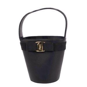 Salvatore Ferragamo Vala Women's Italian Smooth Leather Handbag Black Hand Bag Genuine Amber