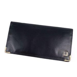 Dunhill Made in England Men's Folded Leather Long Wallet Genuine Black Gold