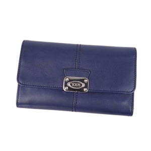 Tod's TOD'S Folded Leather Wallet Made in Italy Ladies Purple Navy