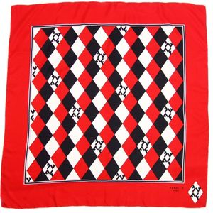 Fendi FENDI Women's Scarf Silk Diamond Quilt Playing Cards White Red Black
