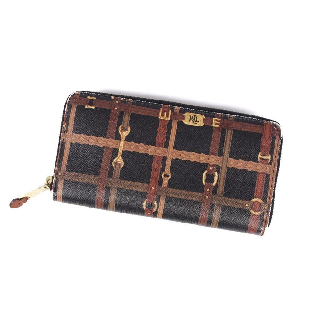 tolle sorten erster Blick am besten bewerteten neuesten Ralph Lauren RALPH LAUREN Round zipper PVC Leather Full Pattern Long Purse  Black Brown Wallet | eLady.com