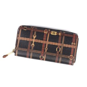 Ralph Lauren RALPH LAUREN Round zipper PVC Leather Full Pattern Long Purse Black Brown Wallet