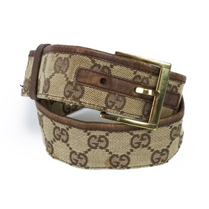 6712092e9 Old Gucci GUCCI Ladies Belt GG Pattern Made in Italy Buckle Leather Gold  Brown Vintage