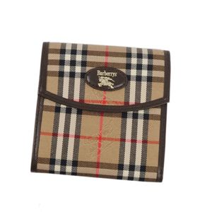 Burberry Burberrys Horse Ferry Check Tri-Fold Wallet Canvas Leather Women's Mens Beige Brown