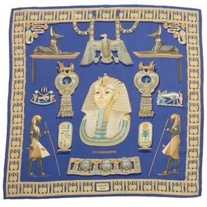 エルメス (Hermes) エルメス HERMES カレ90 シルク スカーフ TUTANKHAMUN (ツタンカーメン) フランス製 レディース ブルー系 箱付き