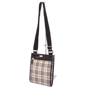 Burberry BURBERRY Check nylon canvas leather shoulder bag 鞄 beige women